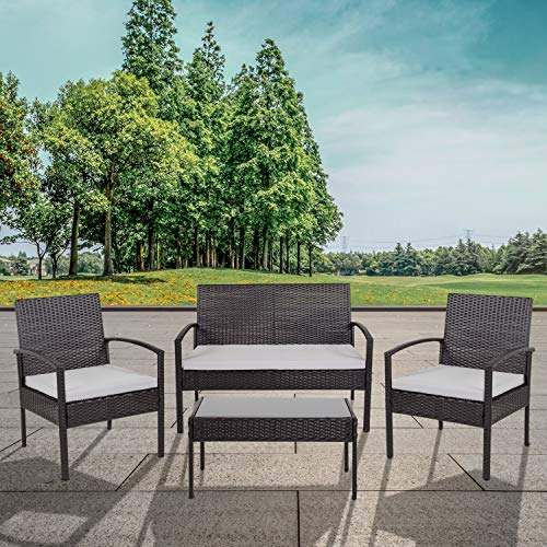 Flash Furniture Aransas Series 4 Piece Black Patio Set with Steel Frame and Gray Cushions