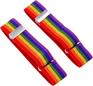 MENDENG Men's 2 Pairs Shirt Sleeve Holders Arm Bands Elastic Adjustable Armbands