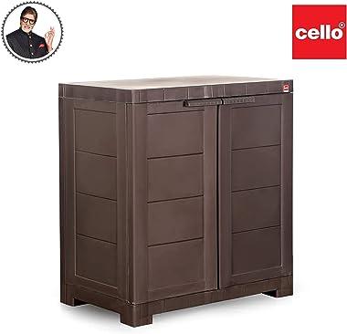 Cello Novelty Compact Plastic 2 Door Cupboard with Shelf(Brown)