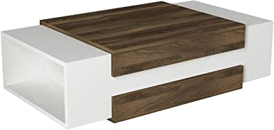 Alphamoebel Tables Basses, Bois d'ingénierie, Noyer Blanc, 110 x 57 x 31 cm