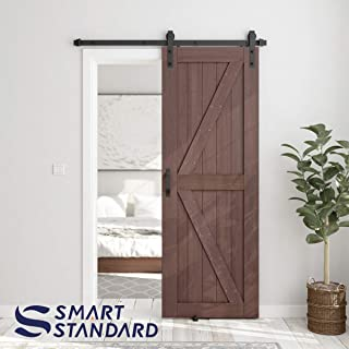SMARTSTANDARD 30in x 84in Sliding Barn Door with 5ft Barn Door Hardware Kit & Handle, Pre-Drilled Ready to Assemble, DIY Unfinished Solid Hemlock Wood Panelled Slab, K-Frame, Coffee