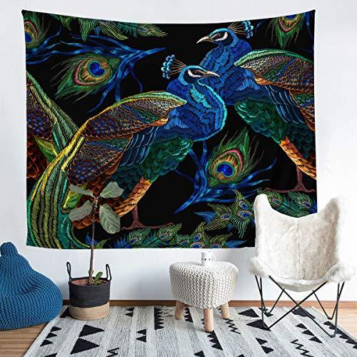Tapiz para colgar en la pared con diseño de pavo real para niños y niñas, bordado de plumas de pavo real, tapiz de pared de lujo, elegante para dormitorio, sala de estar, extragrande, 152 x 238 cm