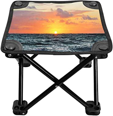 INTERESTPRINT Outdoor Slacker Chair for Backpacking,Hiking, Beach Chair with Carry Bag Sunrise on Caribbean Beach