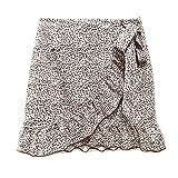 XVCHQIN Mini Falda Mujer Faldas Moda para Mujer Impresión Cintura Alta Asimetría Volante Todo-Fósforo, Beige, S