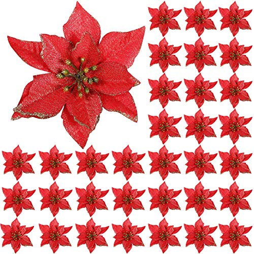 45 Pieces Christmas Poinsettia Decorations Glitter Artificial Christmas Flowers for Xmas Tree Ornaments, 5 Inch (red)