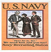"BLNヴィンテージ世界大戦と世界戦争IIポスター–Vintage US Navy ""ここ彼はSir ""募集ポスター–グリーティングカード Set of 12 Greeting Cards"