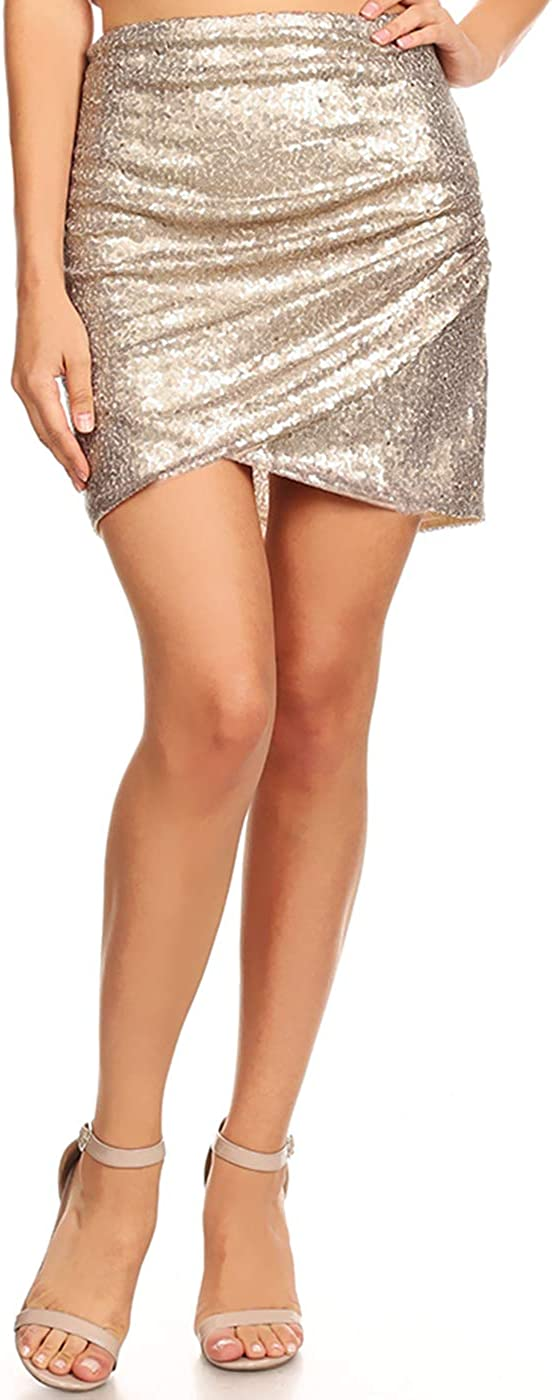 Anna-Kaci Reservation Womens Short Ruched Tulip Hem Mail order cheap Club Pen Body Con Sequin