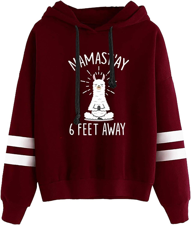 Funny Llama Yoga Graphic Hoodie Women Llamastay 6 Feet Away Long Sleeve Hooded Sweatshirt with White Stripes On Arms