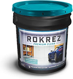 Rokrez Garage Floor Epoxy Top Coat, UV, Scratch, and Chemical Resistant Professional Coating, 90 oz, 500 Square Feet, Clear Gloss