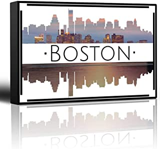 KAROLA Canvas Painting Wall Paintings City Skyline Series - Boston - Colorful Urban Decor - Sunsets and Silhouettes Famous Buildings and Landmarks - Canvas Art Home Decor - 16x24 inches