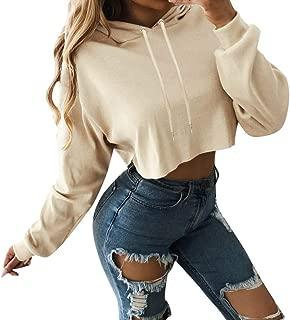 Ladies Sexy Casual Tops,Women's Long Sleeve Hoodie Pullover Striped Crop Top Sweatshirt Beige