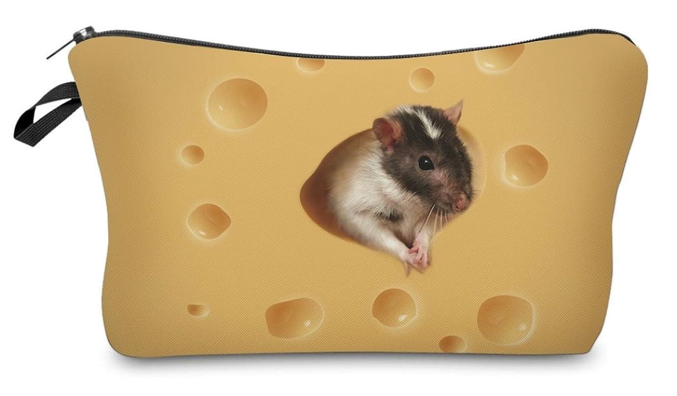 導入するけん引ジレンマ( 560kick ) チーズ と ネズミ 柄 ポーチ メイクグッズ 収納
