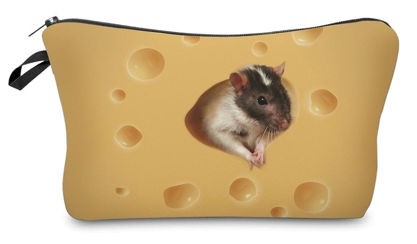 抽選大学特異な( 560kick ) チーズ と ネズミ 柄 ポーチ メイクグッズ 収納