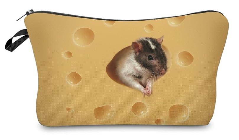 任意ただアナウンサー( 560kick ) チーズ と ネズミ 柄 ポーチ メイクグッズ 収納