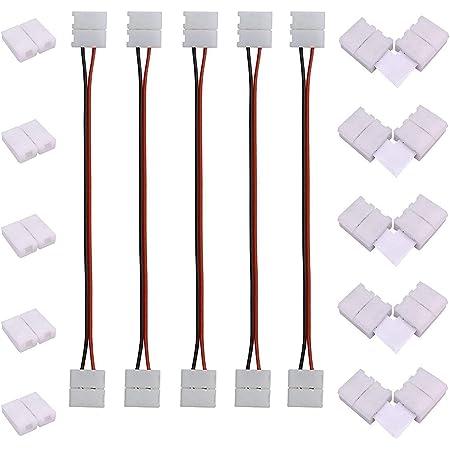 Clip Jack Plug per Striscia Strip LED B1E20 2pz Aftertech/® CONNETTORI RAPIDI 8mm