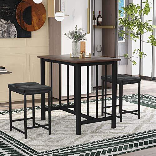 3-delige bartafel set, aanrechtblad hoogte eetkamer set, eetkamer bureaus met 2 barkrukken industrieel voor keuken, woonkamer (bruin)