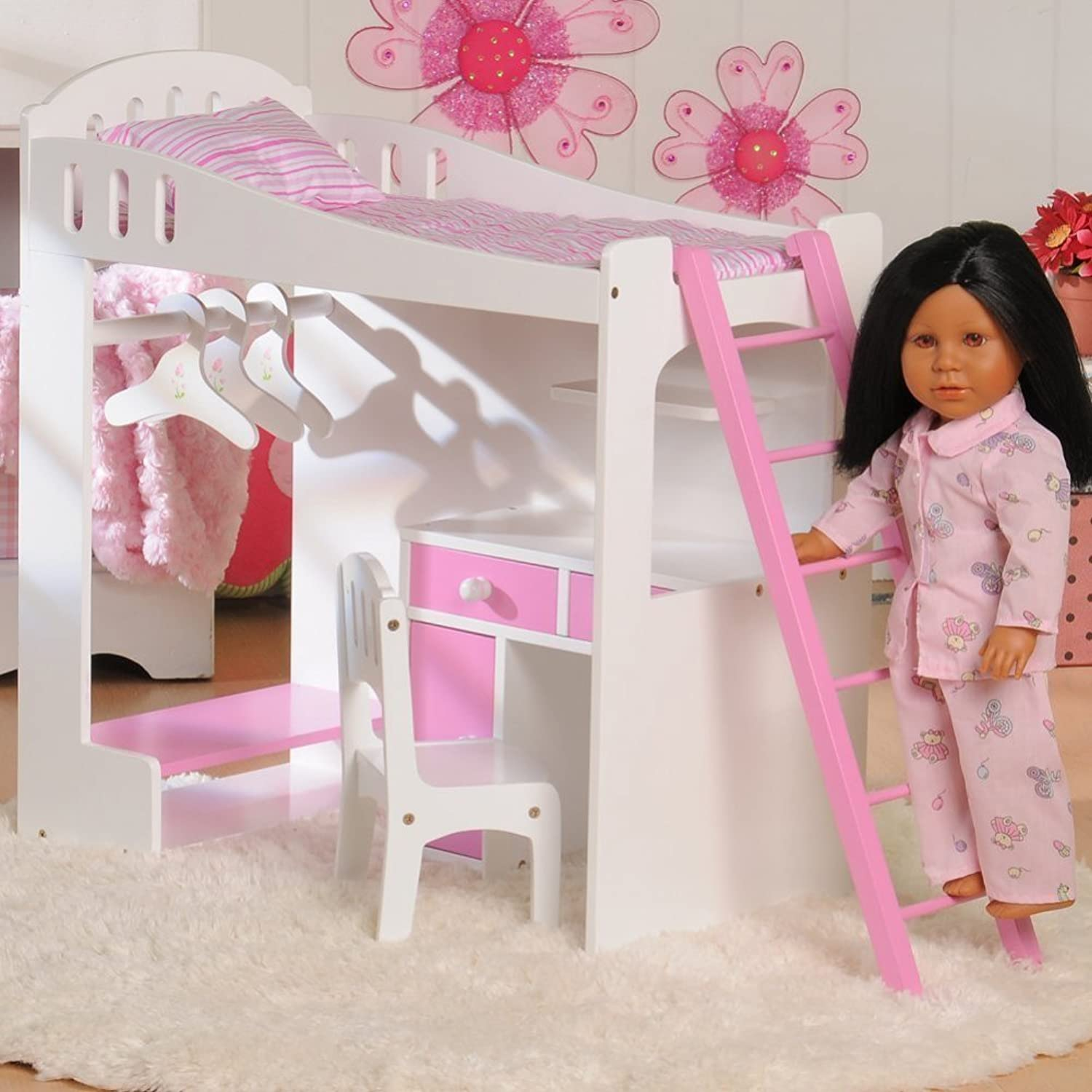 Constructive Playthings Today's Girl Doll Loft Bed 8-Piece Playset - For 18 Dolls and Accessories - Ages 4+ by Constructive Playthings
