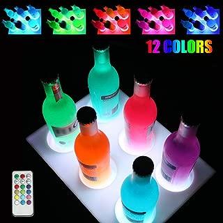 Oycbuzo LED Bar Coasters Liquor Bottle Display Shelf for Drinks Beer Beverage - Light Up Bottle Glorifier - Remote Color Changing Cup Glass Holder for Christmas Party, Wedding, Bar Decoration
