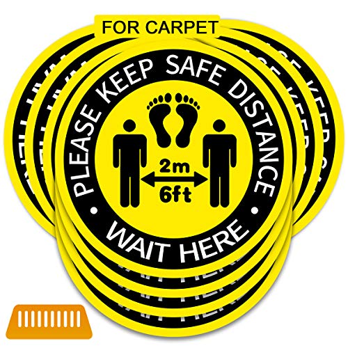 12 Inch Social Distancing Sign for Carpet [10 Pack] Social Distance Floor Stickers with Shovel [Please Keep 6 Feet Apart][Waterproof ] Floor Decals Adhesive Anti-Slip Lamination Easy to Clean