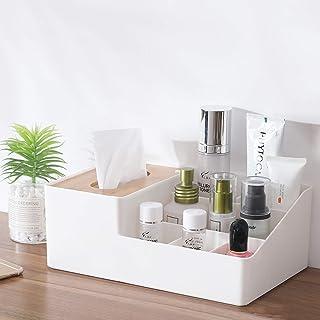 リモコンラック ティッシュケース 化粧品収納ボックス 小物入れ ティッシュボックス おしゃれ 多機能収納ボックス 北欧 ホワイト (白)