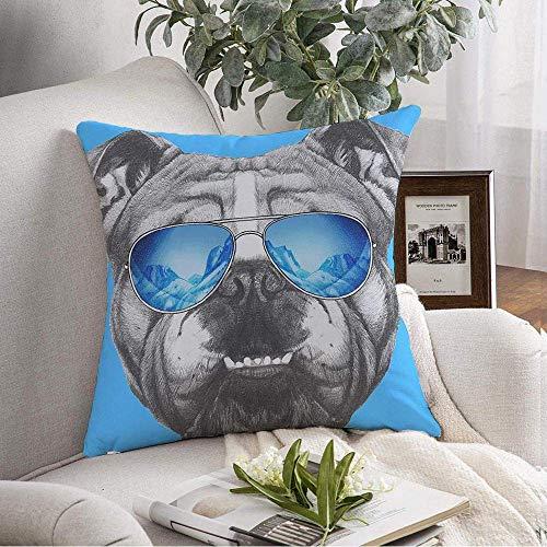 Funda de almohada cuadrada decorativa Bulldog inglés Diversión Divertida Espejo Invierno Animal Gafas de sol Mano Mascotas Animales Vida salvaje Belleza Moda Funda de cojín suave para dormitorio Sofá