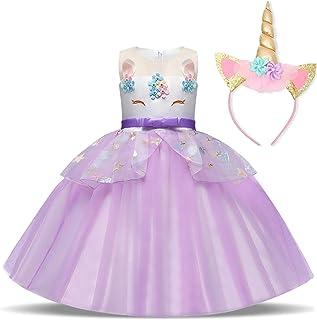 539625881b59 TTYAOVO Chicas Unicornio Fancy Vestido Princesa Flor Desfile de Niños  Vestidos sin Mangas Volantes Vestido de