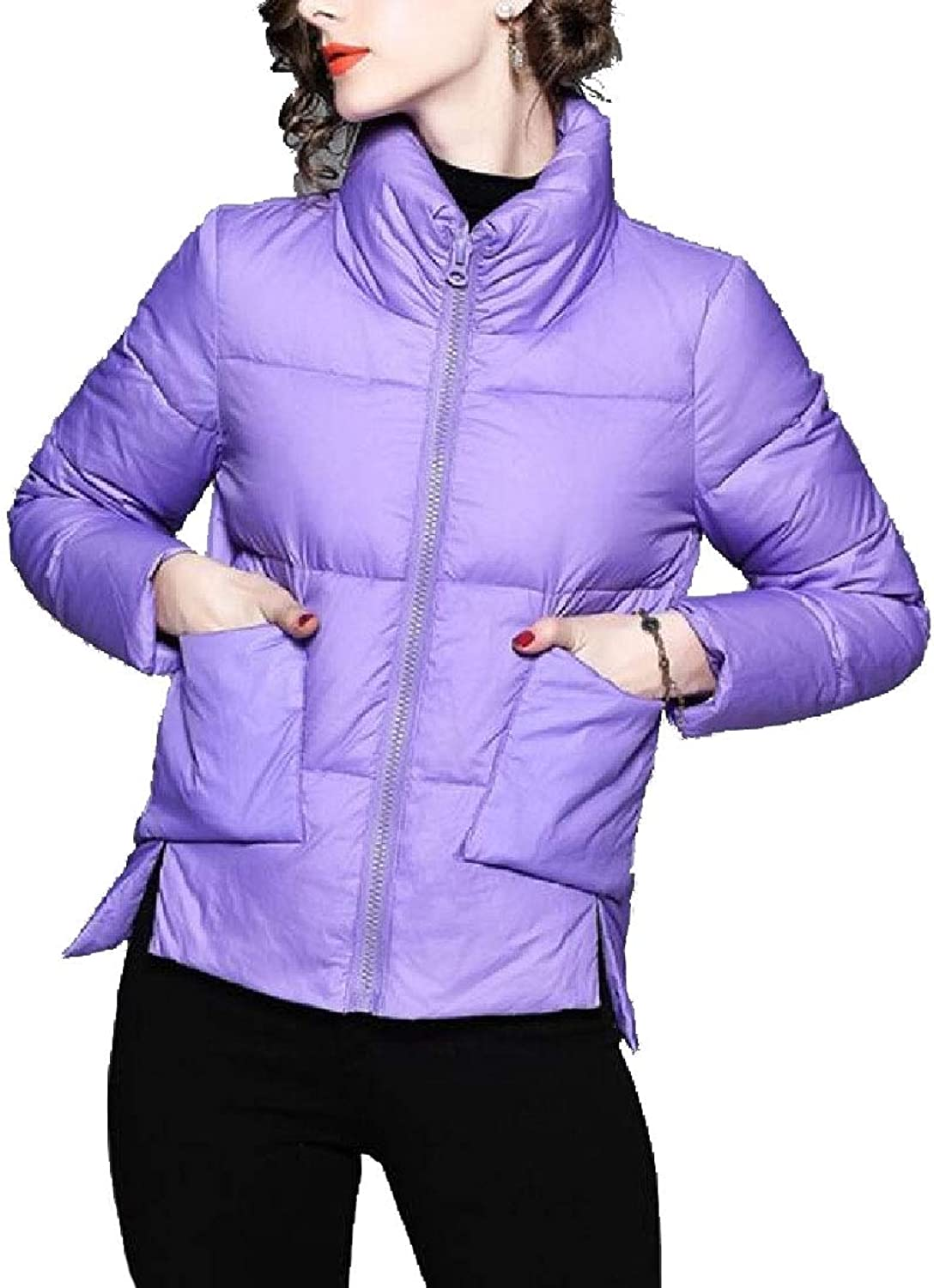 Maweisong Women Warm SnapFront Stand Collar Short Bread Puffer Jacket
