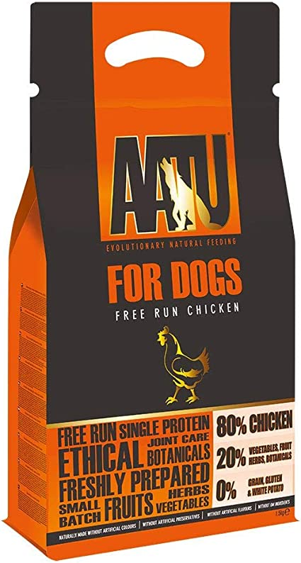 AATU 80/20 Alimentos Secos para Perros, Pato, Alta en proteínas, Receta Libre de Granos, sin Ingredientes Artificiales, 3 Libras
