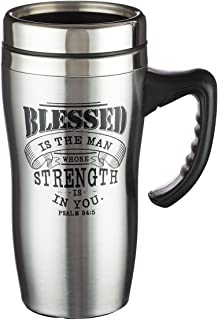 Blessed Is The Man Psalm 84:5 Stainless Steel Travel Mug with Lid and Handle (16 Oz Double-Wall Vacuum Insulated Coffee Cup)