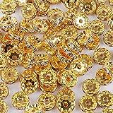 ロンデル 6mm 50個 ラインストーン付き スペーサービーズ キャップビーズ アクセサリーパーツ DIY材料 (ゴールド)