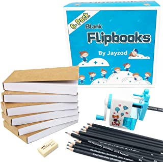 """Blank Flipbooks (Flip Book Kit) for Animation and Cartoon Creation,6 Pack,180 Pages (90 Sheets),4.5"""" X 2.5"""", Opens Flat with Thick Textured 120 GSM Drawing Paper with Sewn Binding for Kids & Adults"""