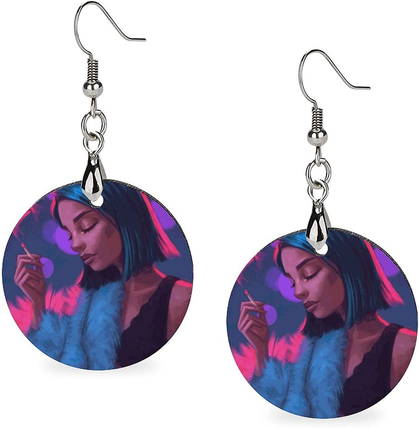 Wooden Circular Luxury Drop Earrings Costume Accessories for Women Everyday
