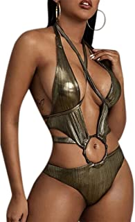 KINGSEVEN Women's Sexy One Piece Swimsuit Deep V Neck Swimwear Cutout Monokini Halter Bikini High Waist Bathing Suit