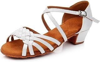 HIPPOSEUS Girls' Latin Dance Shoes Satin Ballroom Salsa Dance Shoes Low Heel 1208