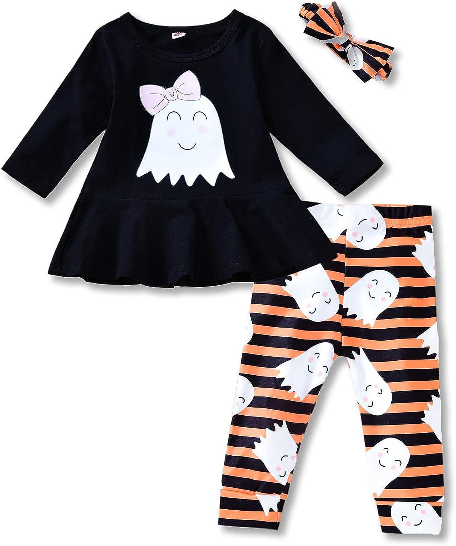 Toddler Baby Girls Halloween Outfit Long Sleeve Pumpkin Ruffle Dress Top Legging Pants Clothes Set 3PCS