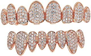 NCDFH Hombres s Hip Hop Fang Irregular Top Bottom Dientes Set Rose Gold Color Micro Pave Zircon Bling Iced out Rapper Jewelry