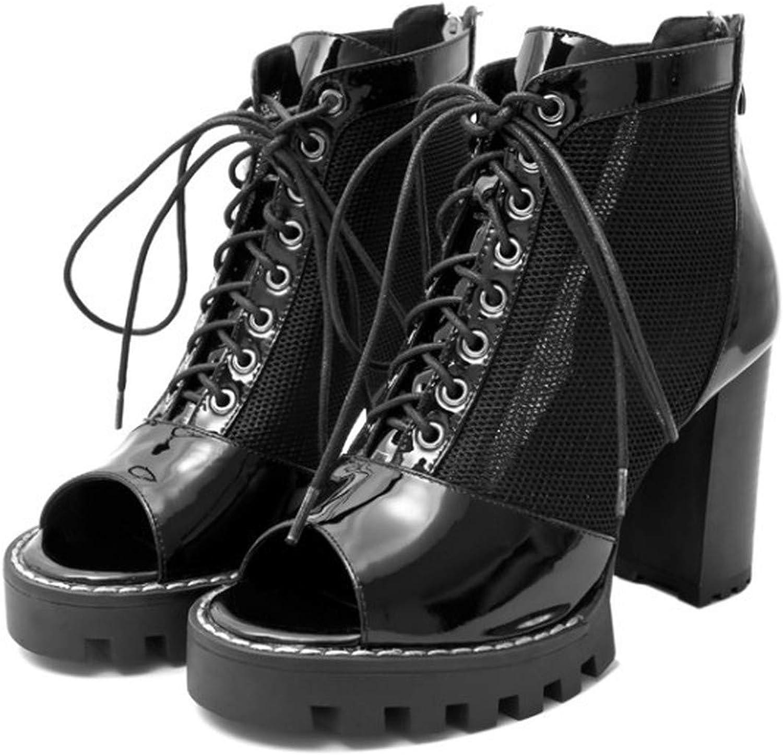Women Summer Ankle Boots Sandals Peep Toe Mesh Chunky Block High Heels Sandals