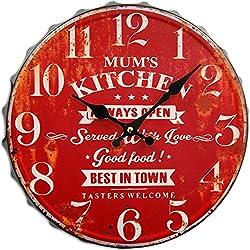 Round Decorative Metal Wall Clock Retro Antique Look Bottle Cap Mums Kitchen 3D Quartz movement 13x13 Inches