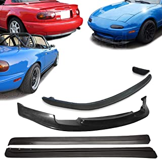 GT-Speed 3x Combo for 1990-1997 Mazda Miata GV Front + RS Rear + FD Side Skirts Extension PU Bumper Lip
