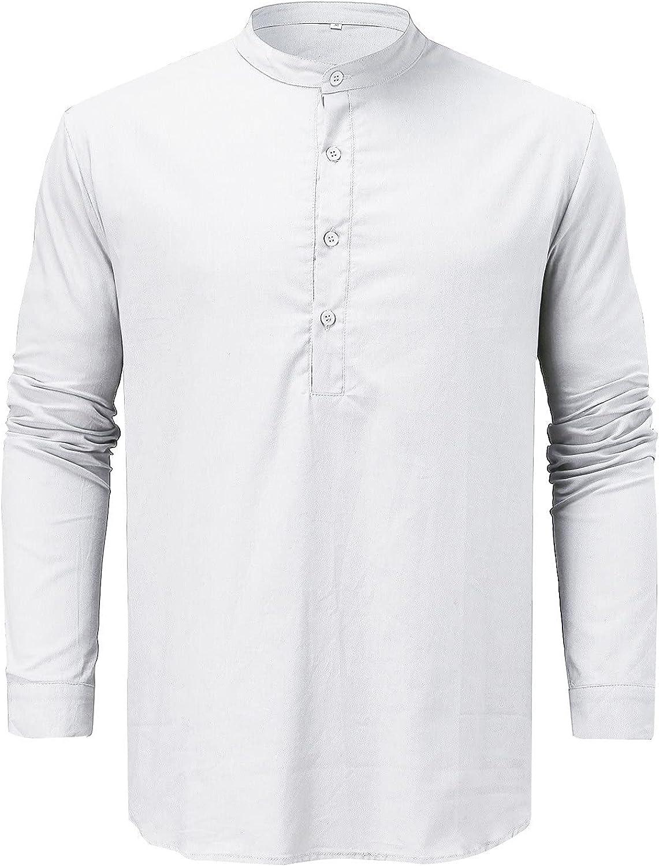 Casual Long Sleeve T-Shirt for Men Classic Basic Slim-fit Solid Button Down O Neck Tops Big & Tall TIK Tok Yoga Shirt