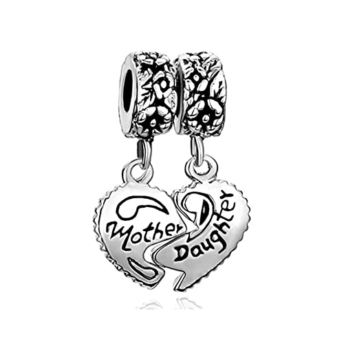 053486e49 Uniqueen Mother Daughter Son Heart Love Charms Dangle Bead Set for Pandora /Troll/Chamilia