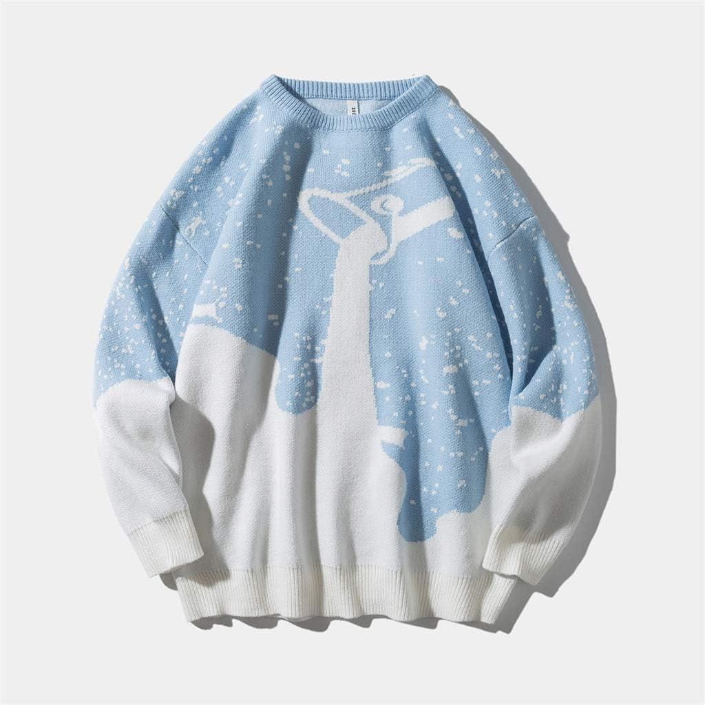 TWDYC Snowflake Knittwear Men Sweater Tops Winter Fashion Streetwear Casual Male Pullover Sweaters (Color : Blue, Size : 2XL-length-74CM)