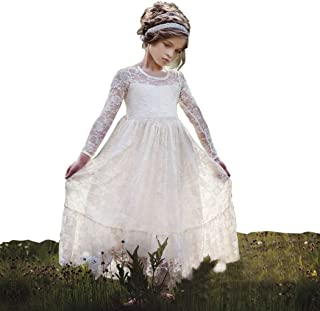 6e63689382 belababy Flower Girls Dress for Wedding White Ivory Long Lace Dresses