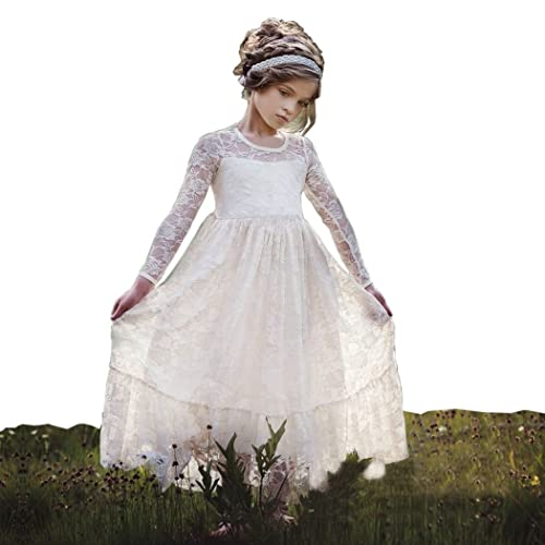 bccd56d5ef3 belababy Flower Girls Dress for Wedding White Ivory Long Lace Dresses