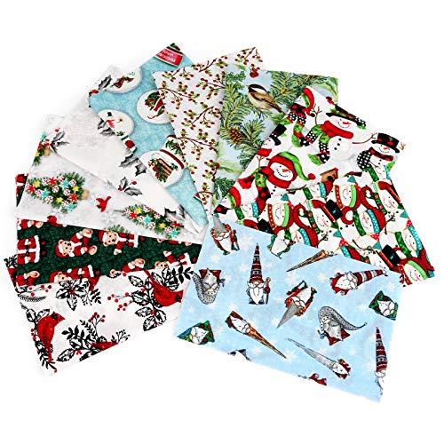 10 Stück Weihnachtliche Baumwollstoffpaket Nähen Patchwork, Weihnachtsmuster Baumwollstoff für DIY Weihnachtsstrumpf Baum Untersetzer Party Supplies (19,8 x 24,9 cm)