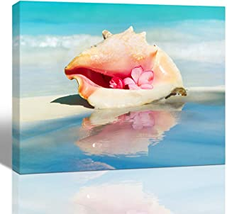 Purple Verbena Art Beach Conch Seascape Pictures Wall Art Pink Flower Blue Ocean Nature Landscape Canvas Print Painting Home Decor for Living Room Bedroom Canvas Artwork,12x16 Inches Frmaed Picture