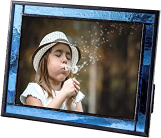 J Devlin Colored Easel Back Series - Stained Glass 5x7 Picture Frame Displays Horizontally or Vertically (Blue)