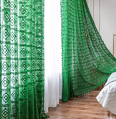 Boho Curtains with Tassel,Green Semi Sheer Curtains 84 Inch Length,Hollow Out Cotton Curtains 2 Panels