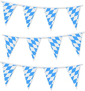Sunshane 32.8 Feet Oktoberfest Bavarian Flag Pennant Banners for Oktoberfest Party Decorations, Color 2