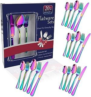 Rainbow Flatware Set Colorful Stainless Steel Silverware Dinnerware Set, Colored Tableware Set for 4, 20-piece flatware Se...